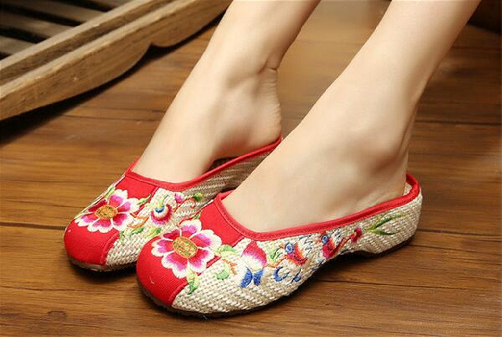Chinese Embroidered Shoes for Women in Red Floral Design & Ventilated Cotton - Mega Save Wholesale & Retail - 3