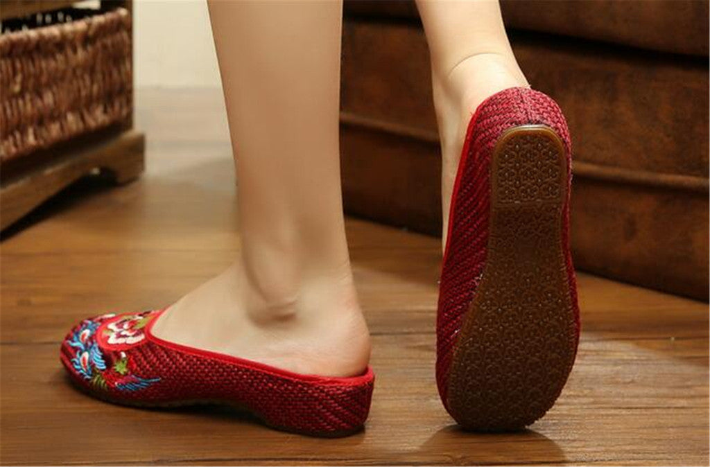 Chinese Shoes for Women in Wine Red Cotton Embroidery & Flat Floral Design - Mega Save Wholesale & Retail - 2