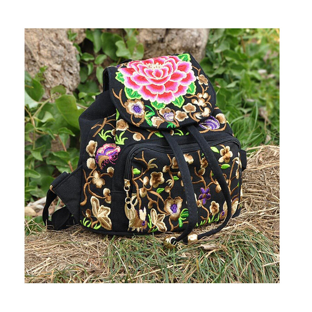 Spring Festival's Gift Yunnan National Style Embroidery Bag Stylish Featured Shoulders Bag Fashionable Woman's Bag   peony flower with random color - Mega Save Wholesale & Retail - 1