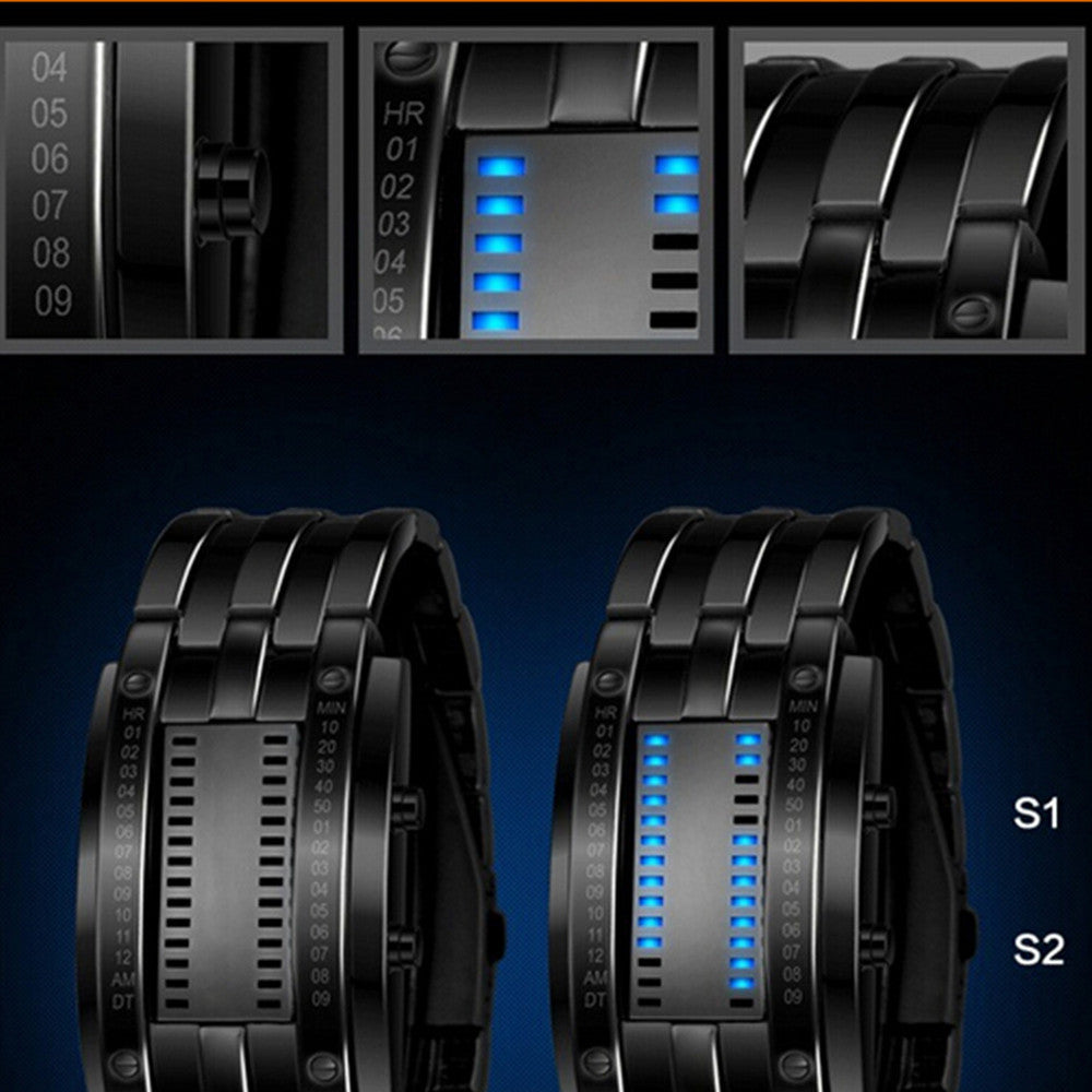 Deep Waterproof Creative Date Digital LED Luminous steel Men Women Bracelet Fashion Chic Watch Silver Men - Mega Save Wholesale & Retail - 4