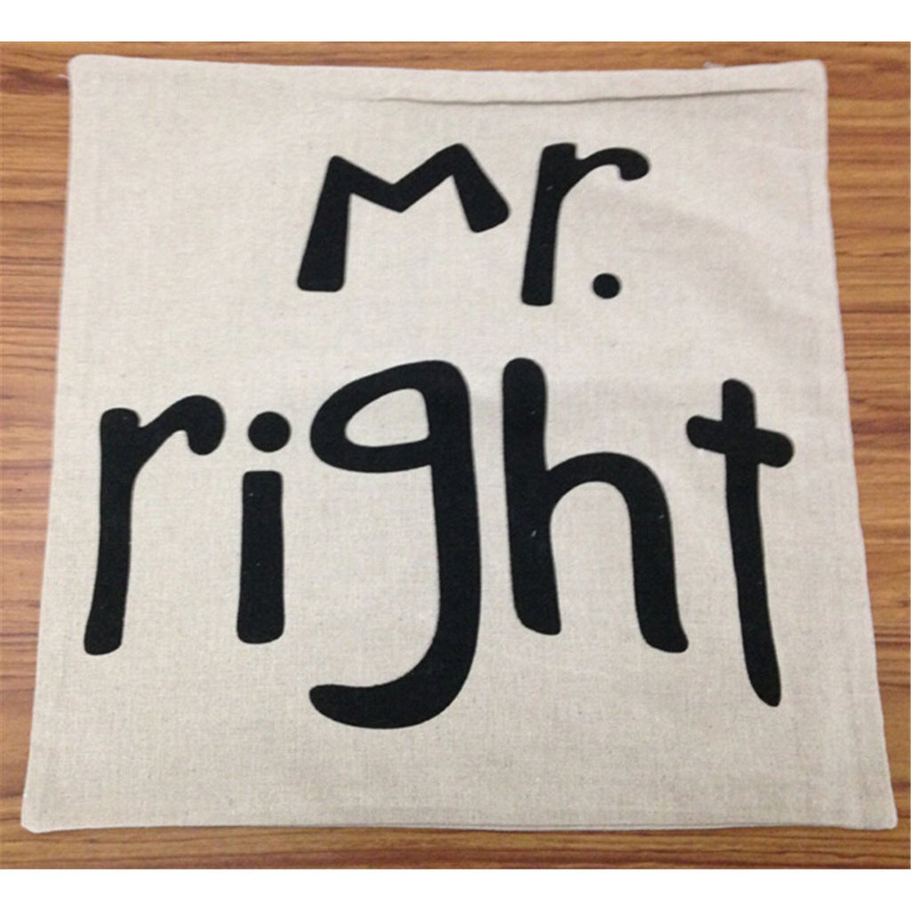 Mr.rightt creative cotton pillow cover cushion cover - Mega Save Wholesale & Retail