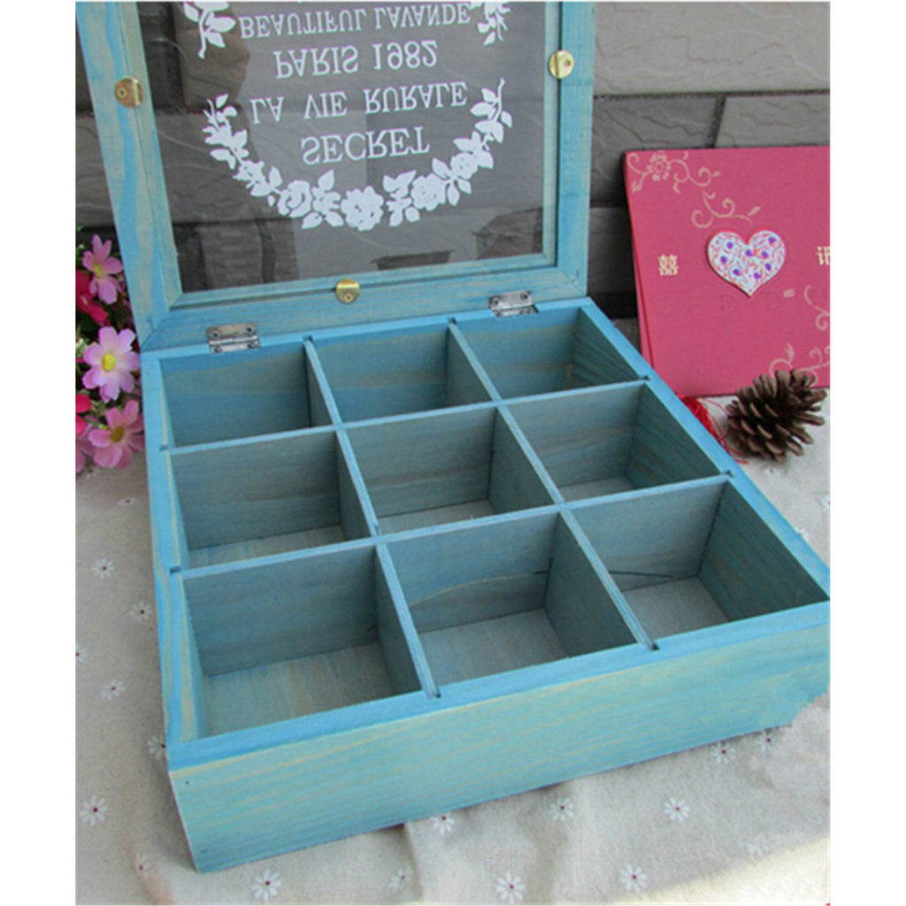 Zakka Retro Vintage 9 Cabinets Jewelry Storage Wooden Box Clear Cover   Blue petal - Mega Save Wholesale & Retail - 2