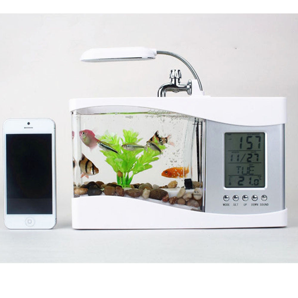 Creative multi-function USB mini aquarium fish tank LED lamp Pen small goldfish bowl White - Mega Save Wholesale & Retail - 2