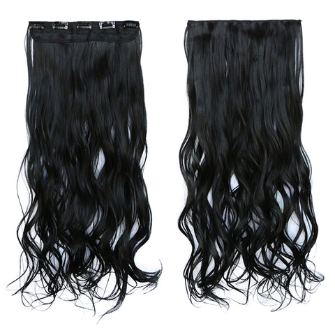 120g One Piece 5 Cards Hair Extension Wig     1BJ