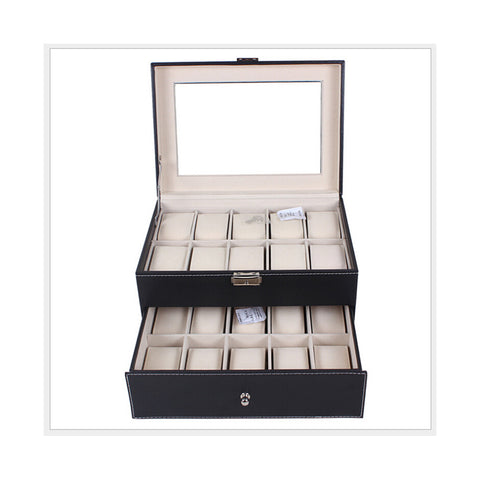 20 Positions Two-layer Watch Box Pack PU Leather Watch Storage Box Display Box - Mega Save Wholesale & Retail - 1