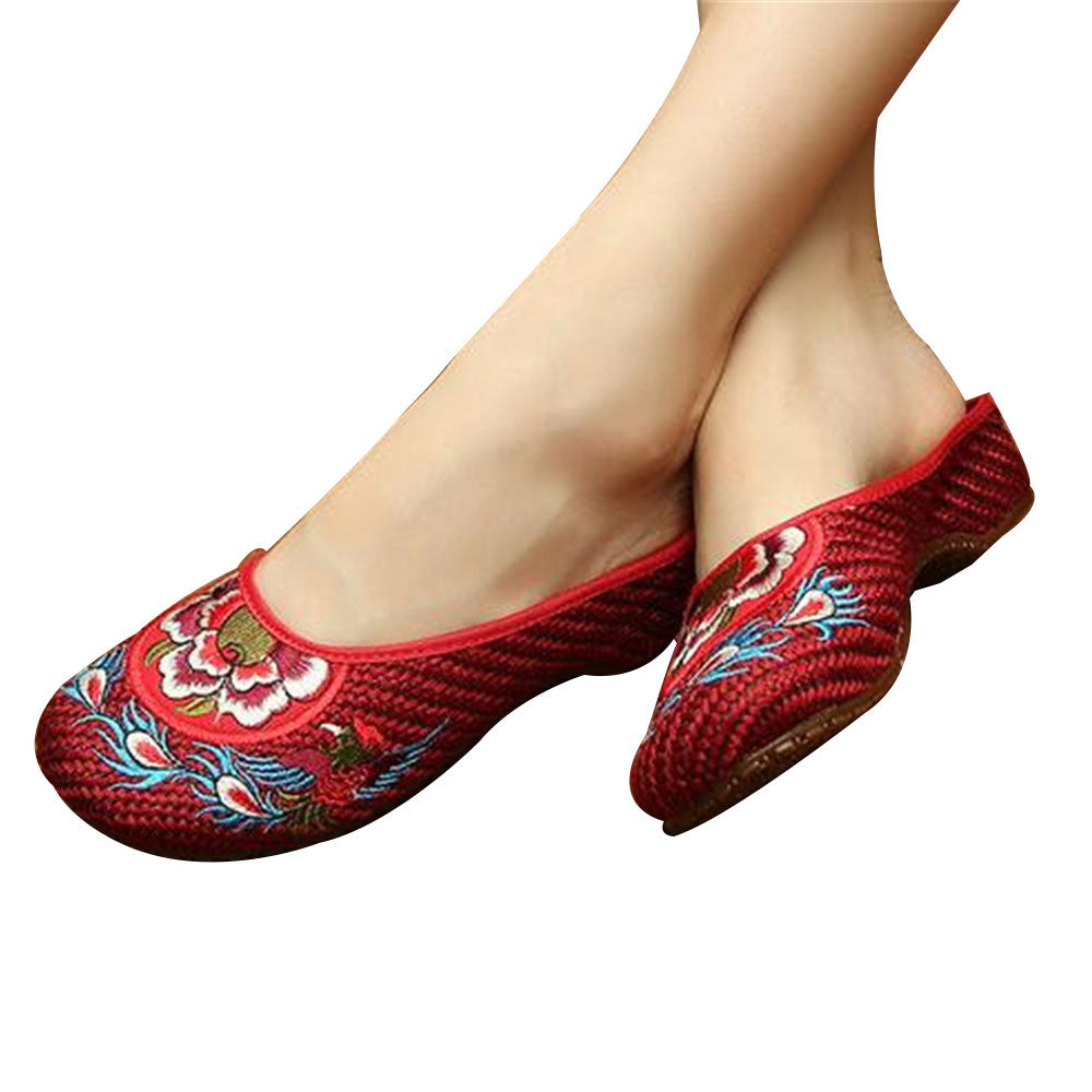 Chinese Shoes for Women in Wine Red Cotton Embroidery & Flat Floral Design - Mega Save Wholesale & Retail - 1