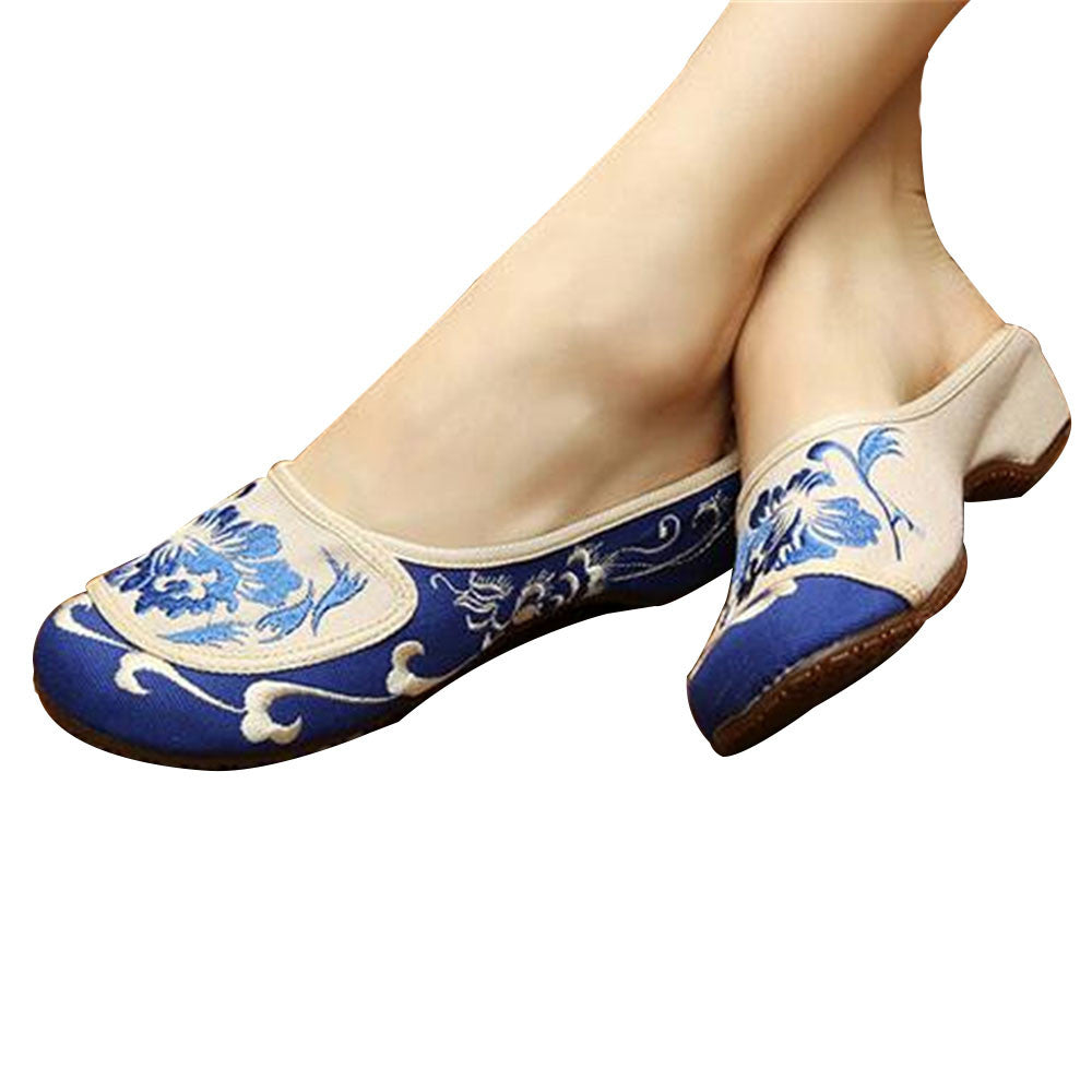 Cotton Mary Jane Shoes for Women in Velvet Blue Chinese Embroidery & Floral Design - Mega Save Wholesale & Retail - 1
