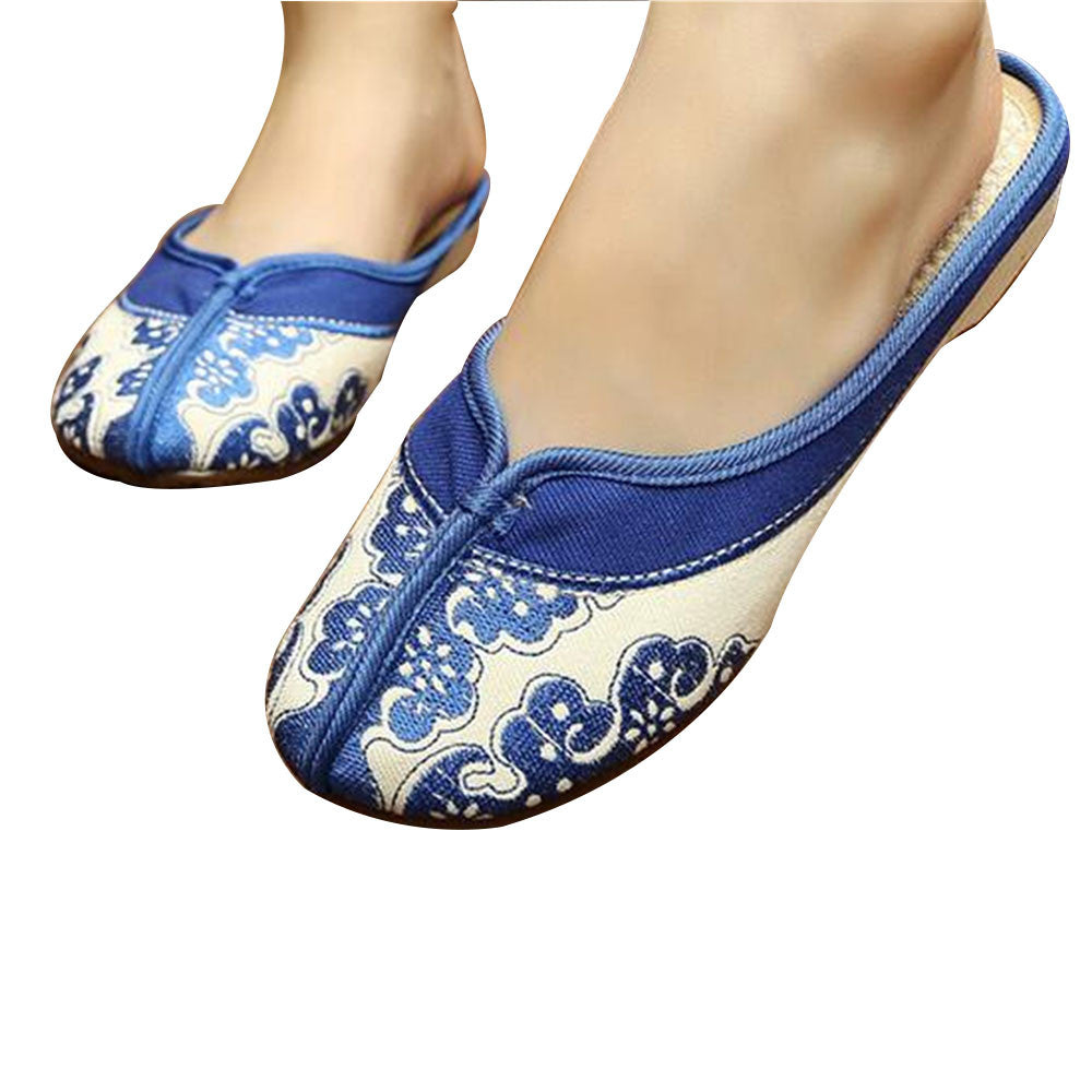 Chinese Embroidered Boots for Women in Blue Cloud Design & Natural Skin Smooth Cotton - Mega Save Wholesale & Retail - 1