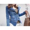 Vintage Hot Punk Grils Cool Rivet Studded Shoulder Motorcycle Denim Jeans Coat Jacket Light blue - Mega Save Wholesale & Retail - 3