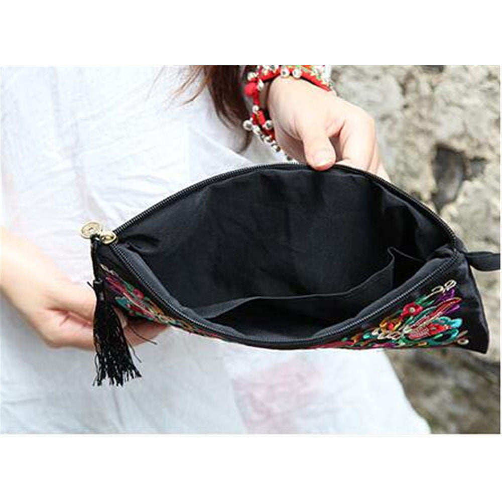 Fashioanble National Style Handbag Vintage Woman Embroidery Small Bag Coin Case   Pansies - Mega Save Wholesale & Retail - 3