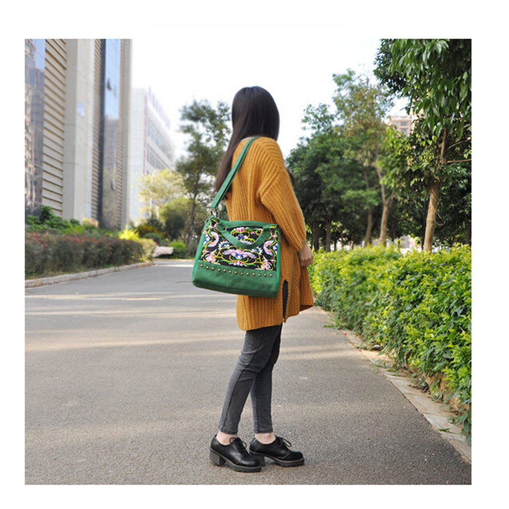 New National Style Embroidery Woman's Single-shoulder Bag Handbag Chinese Style Messenger Bag   green - Mega Save Wholesale & Retail - 3