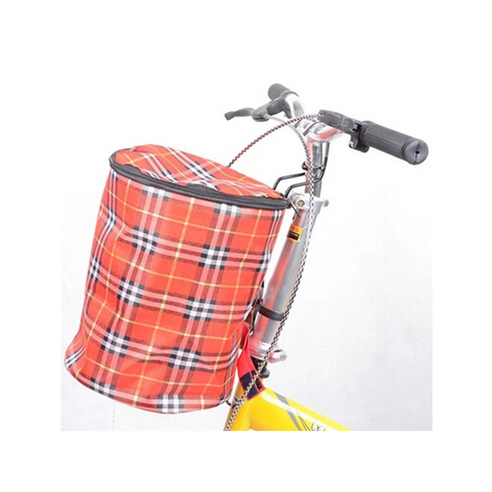 New Bike Bicycle Front Folded Handlebar Canvas Storage Basket Carrier Red - Mega Save Wholesale & Retail - 1