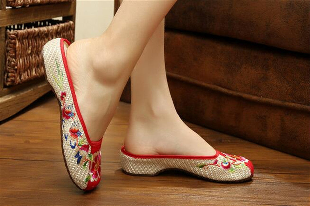 Chinese Embroidered Shoes for Women in Red Floral Design & Ventilated Cotton - Mega Save Wholesale & Retail - 2