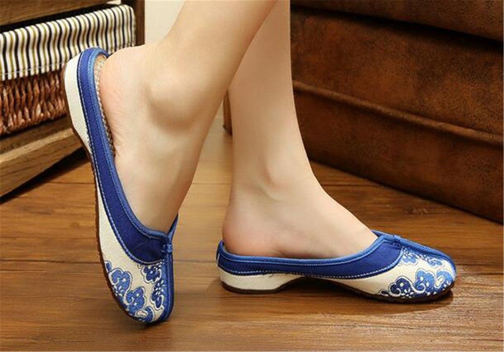 Chinese Embroidered Boots for Women in Blue Cloud Design & Natural Skin Smooth Cotton - Mega Save Wholesale & Retail - 2