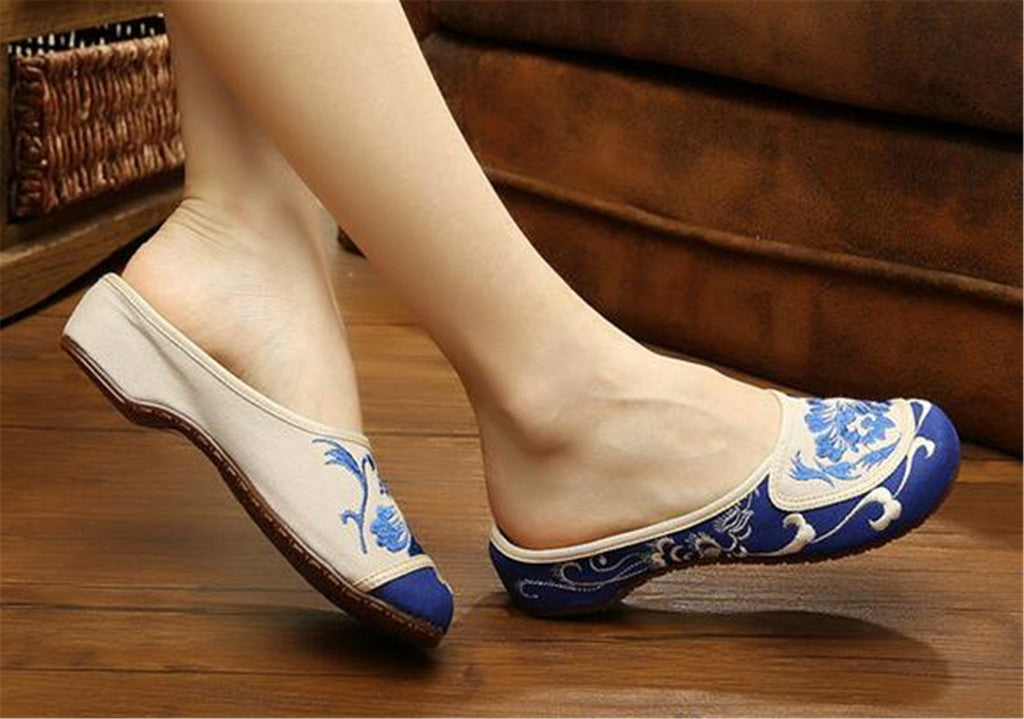 Cotton Mary Jane Shoes for Women in Velvet Blue Chinese Embroidery & Floral Design - Mega Save Wholesale & Retail - 2