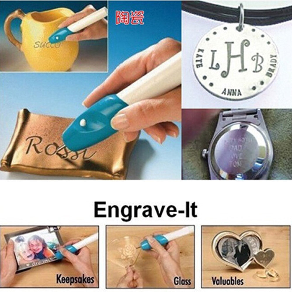 Mini DIY Electric Engraving Pen Etching Jewellery Glass Wood Metal Plastic with Cordless Battery - Mega Save Wholesale & Retail - 2