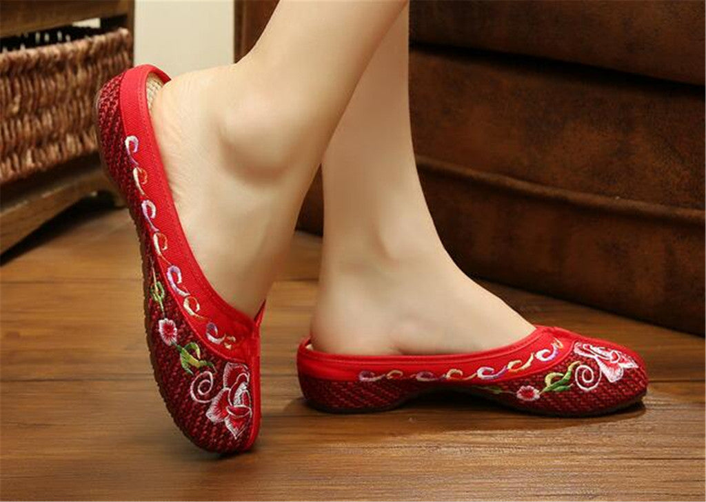 Chinese Mary Jane Shoes in Gorgeous Red Embroidery for Women in Floral Design - Mega Save Wholesale & Retail - 3