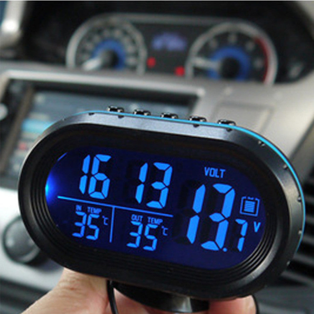 Automotive Clock Table Digital Clock Car Temperature Thermometer Luminous Clock Car Accessory - Mega Save Wholesale & Retail - 3