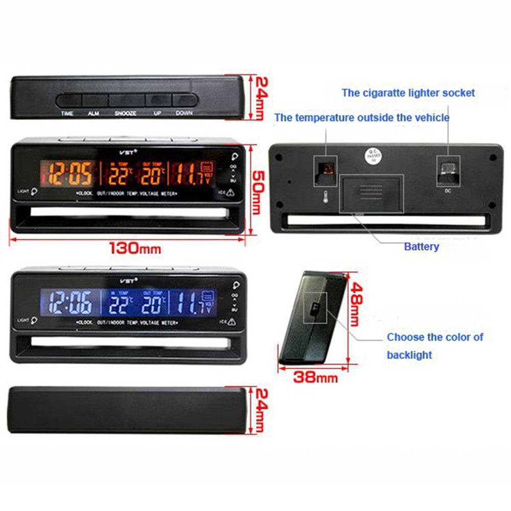 Automotive Indoor Outdoor Thermometer Car Voltage Meter Car Clock Thermoneter Ice Alert - Mega Save Wholesale & Retail - 3
