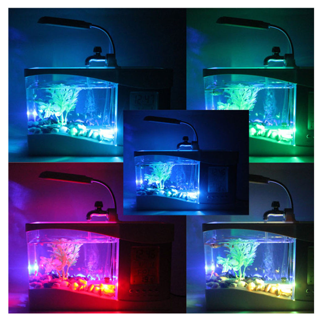 Creative multi-function USB mini aquarium fish tank LED lamp Pen small goldfish bowl White - Mega Save Wholesale & Retail - 5