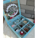 Zakka Retro Vintage 9 Cabinets Jewelry Storage Wooden Box Clear Cover   Blue Crown - Mega Save Wholesale & Retail - 3
