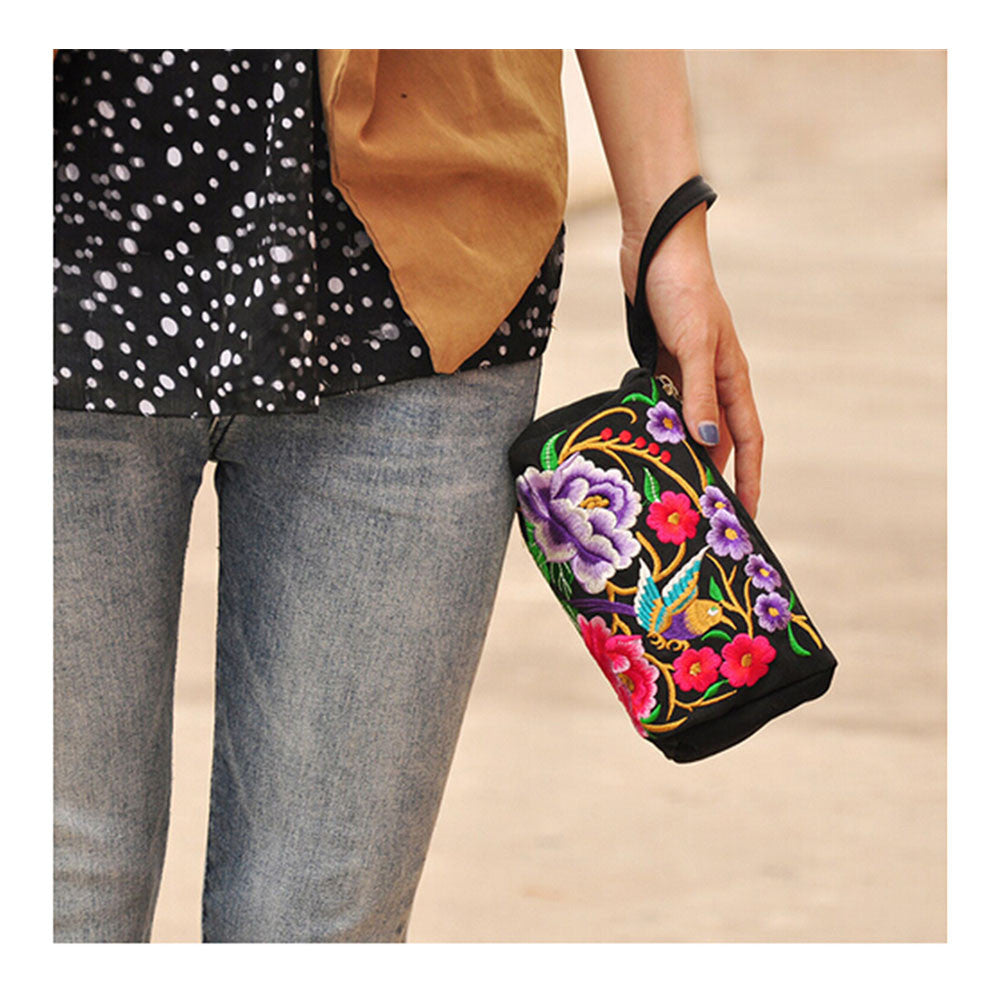 National Style Miao Embroidery Bulk Three Rows Zipper Small Bag Coin Case Mobile Phone Bag - Mega Save Wholesale & Retail - 2