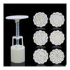 Round Shape Moon Cake Pastry Mold Hand Pressure 30g One Barrel 6 Flower piece baking mold for Mid-Autumn - Mega Save Wholesale & Retail