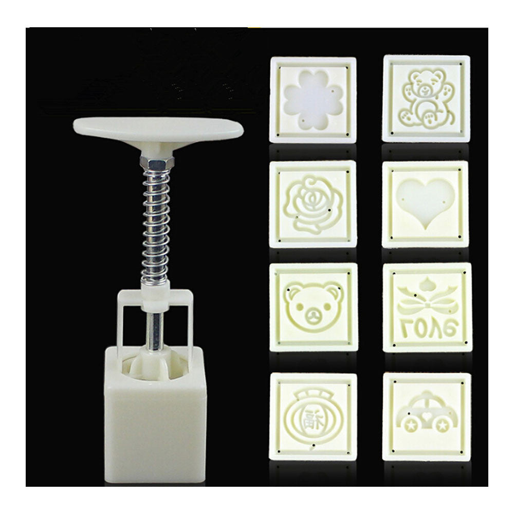 Square Shape Moon Cake Pastry Mold Hand Pressure 30g One Barrel 8 Flower piece baking mold for Mid-Autumn - Mega Save Wholesale & Retail