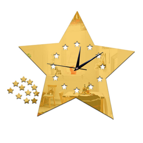 Living Room Silent Wall Clock Five-pointed Star Sticking    golden:30*23cm - Mega Save Wholesale & Retail