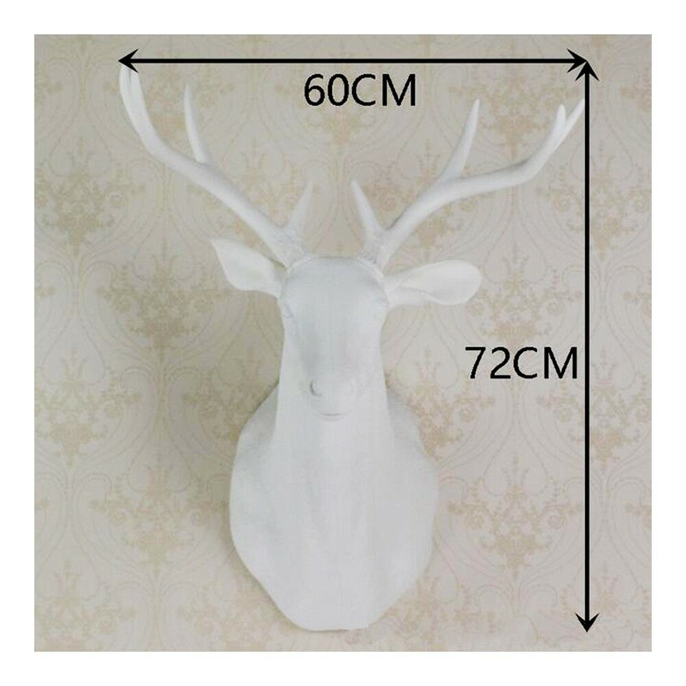 Large Size Plastic Deer Head Wall Hanging Decoration white