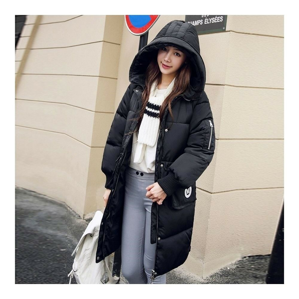 Winter Hoodied Loose Middle Long Down Coat    black