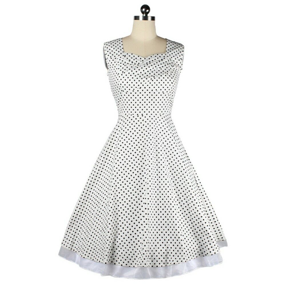 Vintage Hepburn Style Sleeveless Square Dress   white