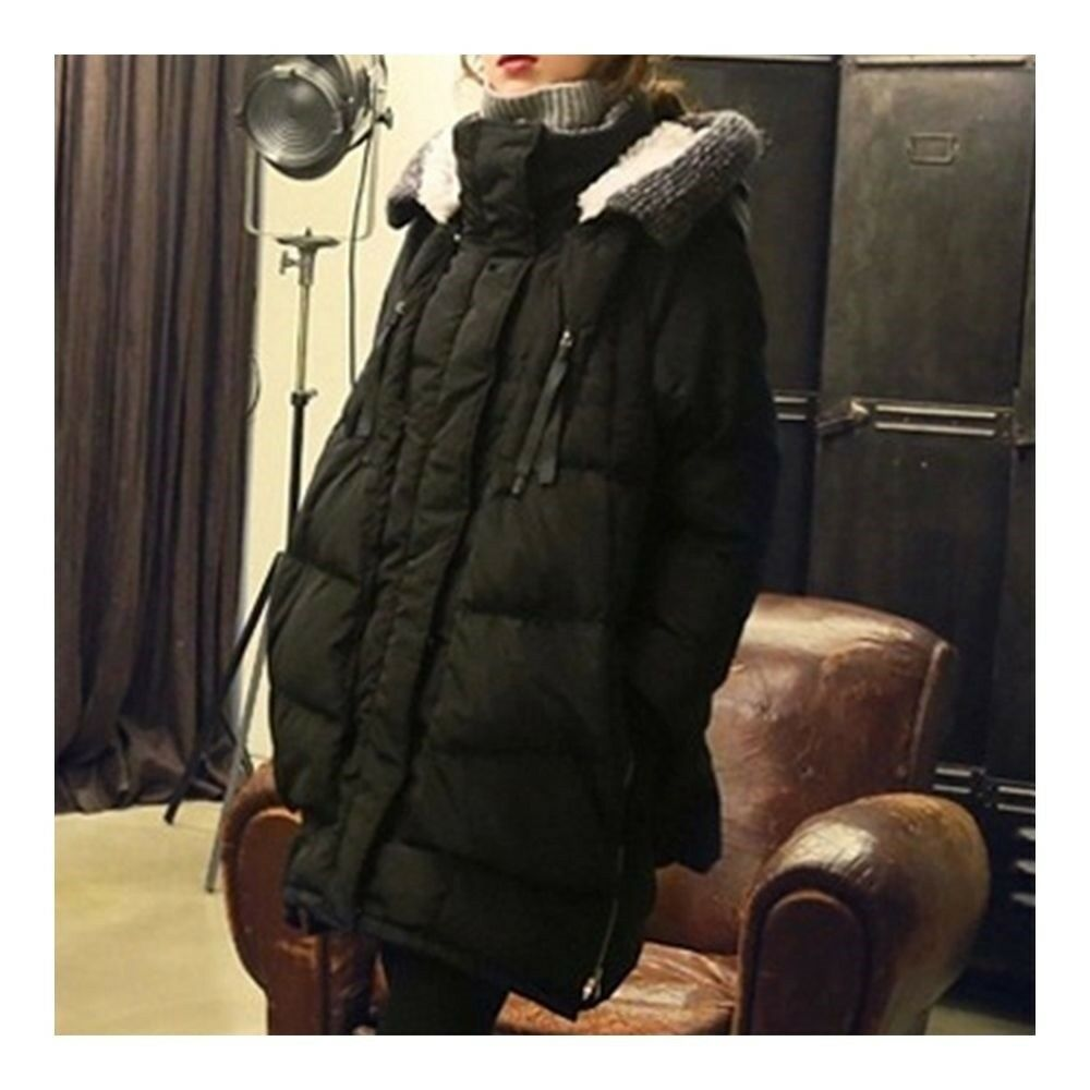Woman Winter Thick Loose Middle Long Down Coat    black