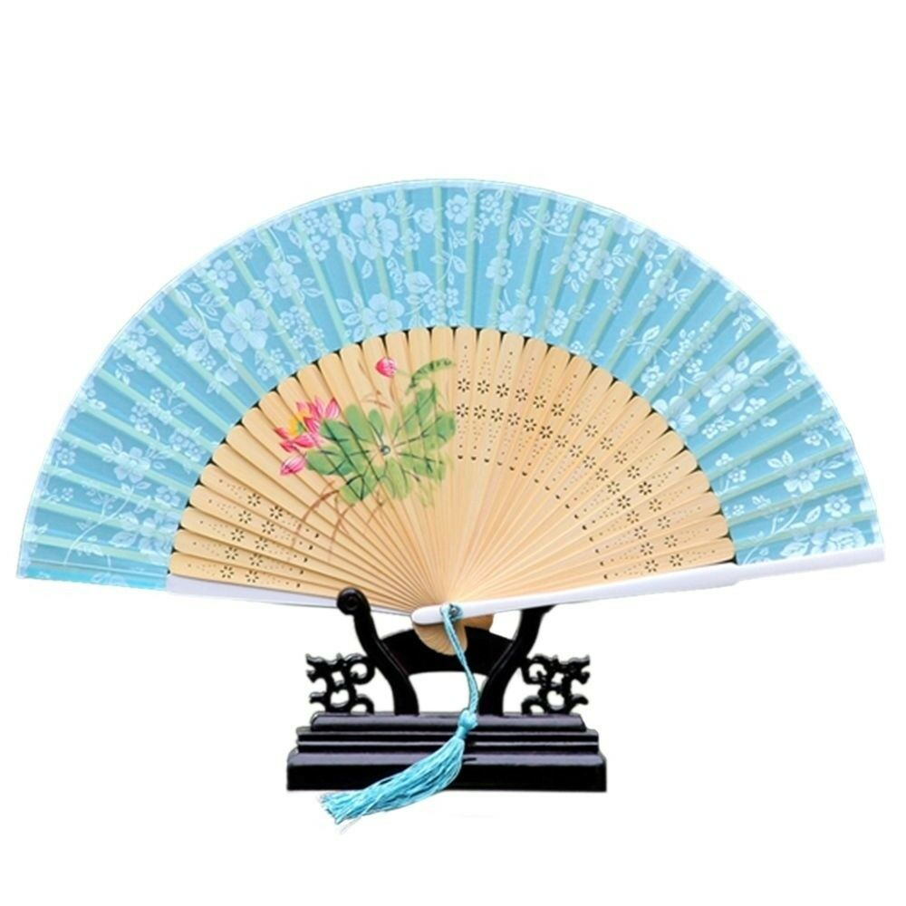 Cotton Cloth Folding Fan Woman      blue