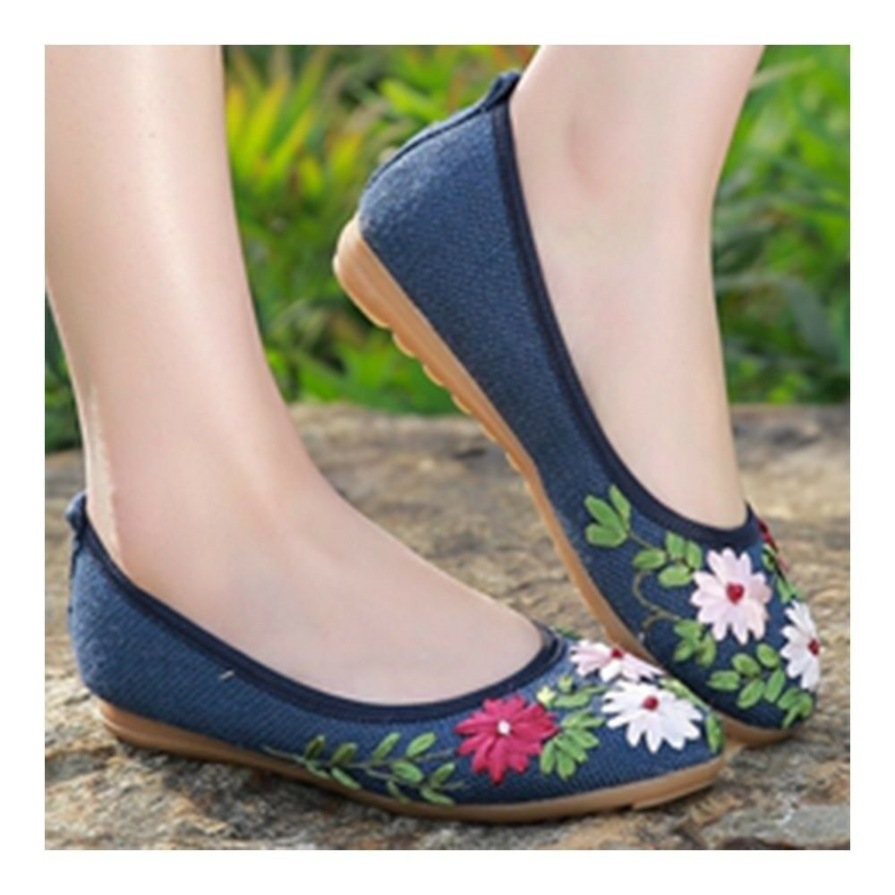 Old Beijing Cloth Embroidered Shoes Manual Ribbon   blue