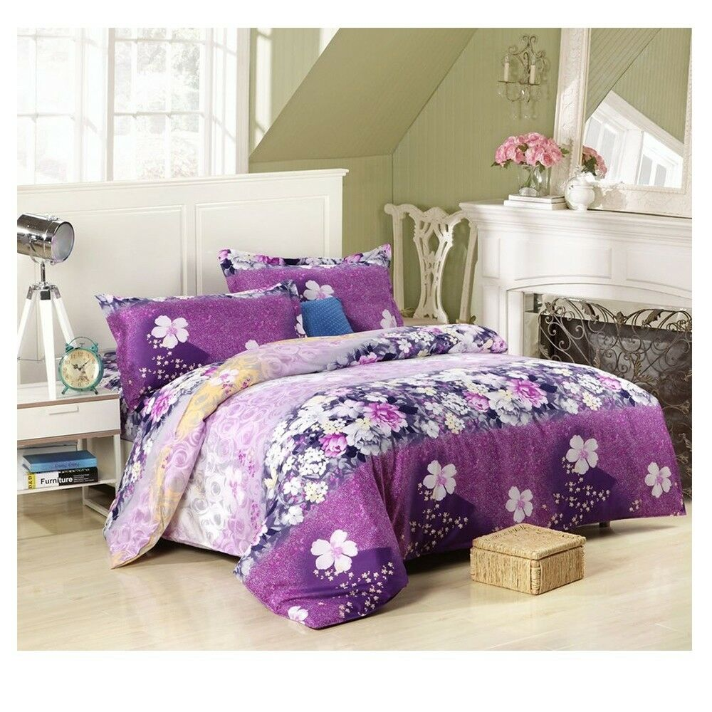 3D Active Printing Bed Quilt Duvet Sheet Cover 4PC Set Upscale Cotton 023