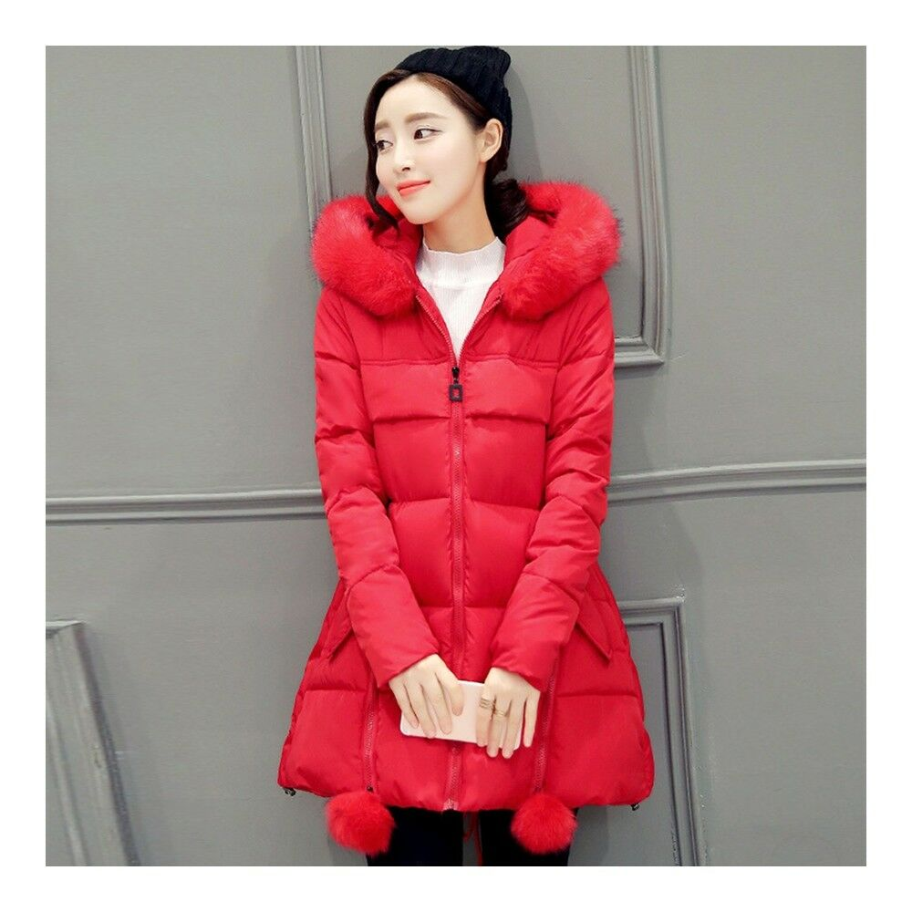Winter Woman Middle Long Thick Down Coat Plus Size   red
