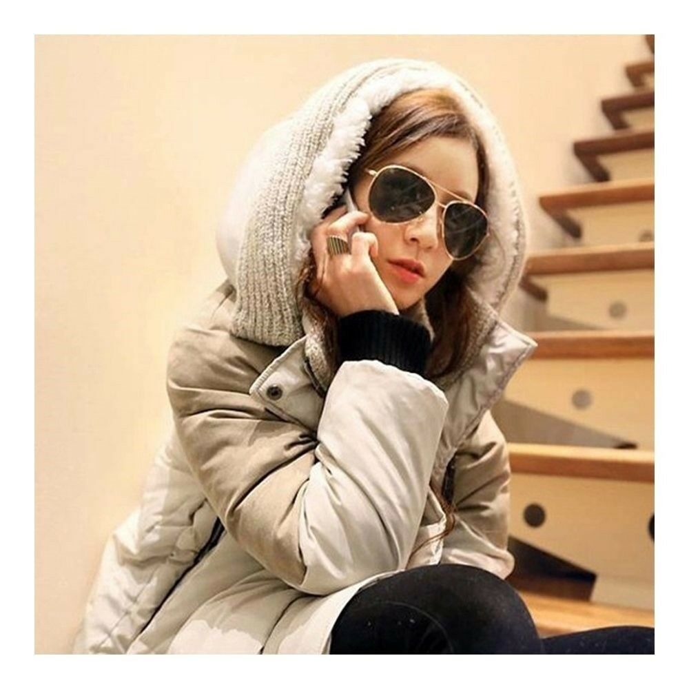 Woman Winter Thick Loose Middle Long Down Coat    beige