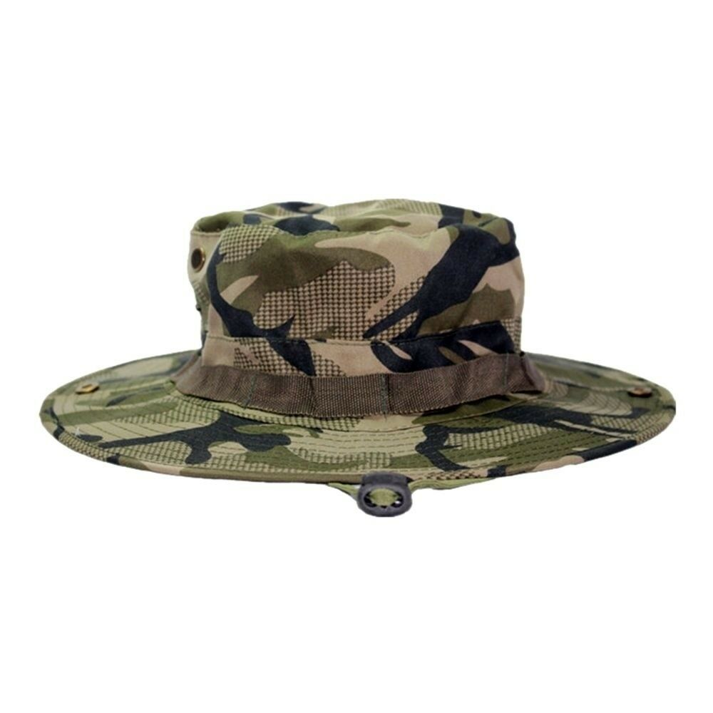 Outdoor Casual Combat Camo Ripstop Jungle Sun Hat Cap Fishing Hiking  illustion