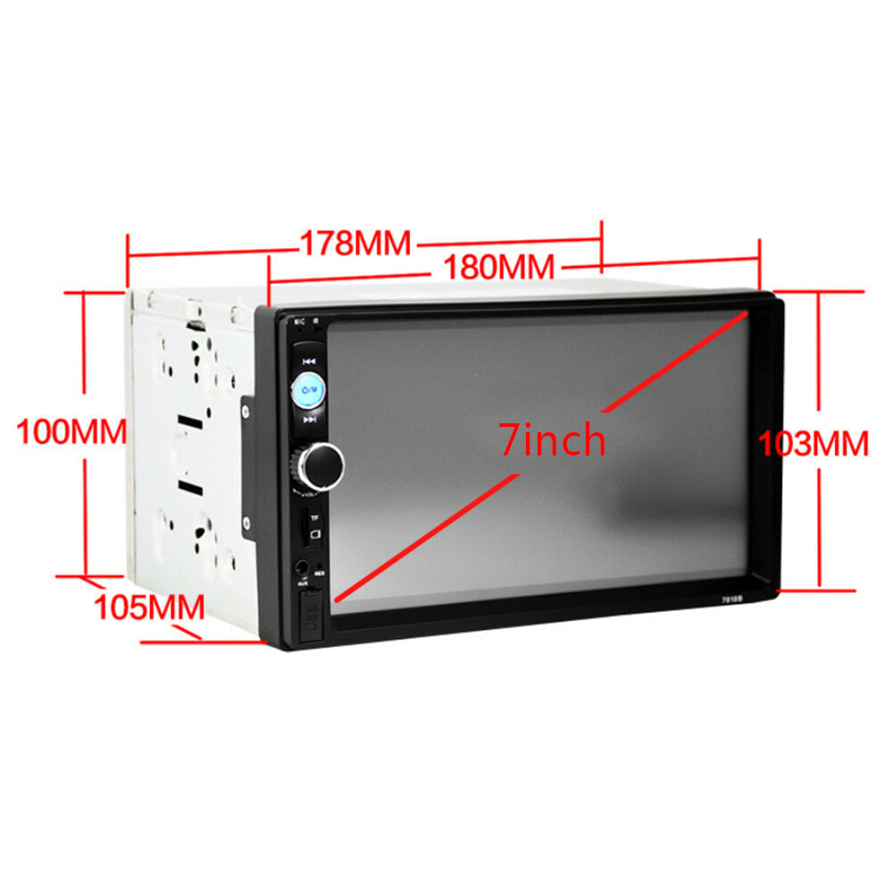"7"" HD Car Stereo Radio Player Bluetooth Touch Screen 2 DIN FM/MP5/MP3/USB/AUX"
