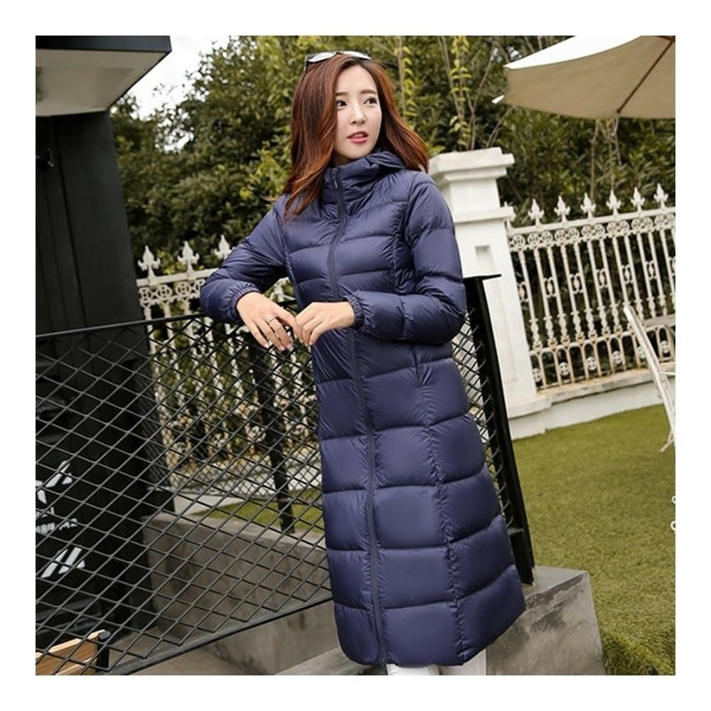 Winter Light Thin Down Slim Coat Extra Long Plus Size    navy