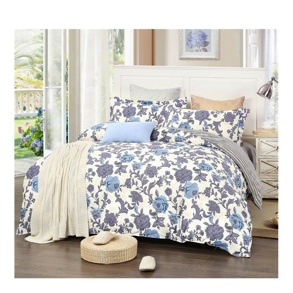 Bed Quilt Duvet Sheet Cover 4PC Set Upscale Cotton 100% 019