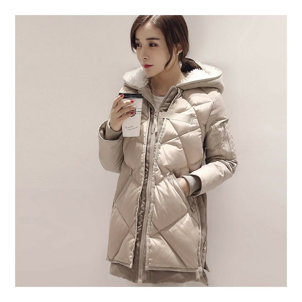 Down Coat Woman Middle Long Hoodied Slim Winter     beige