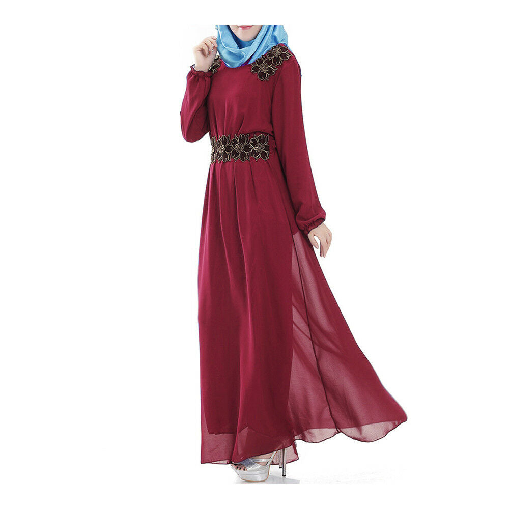 Long Sleeve Malaysian Muslim Women Garments Big Peplum floral Dress Chiffon