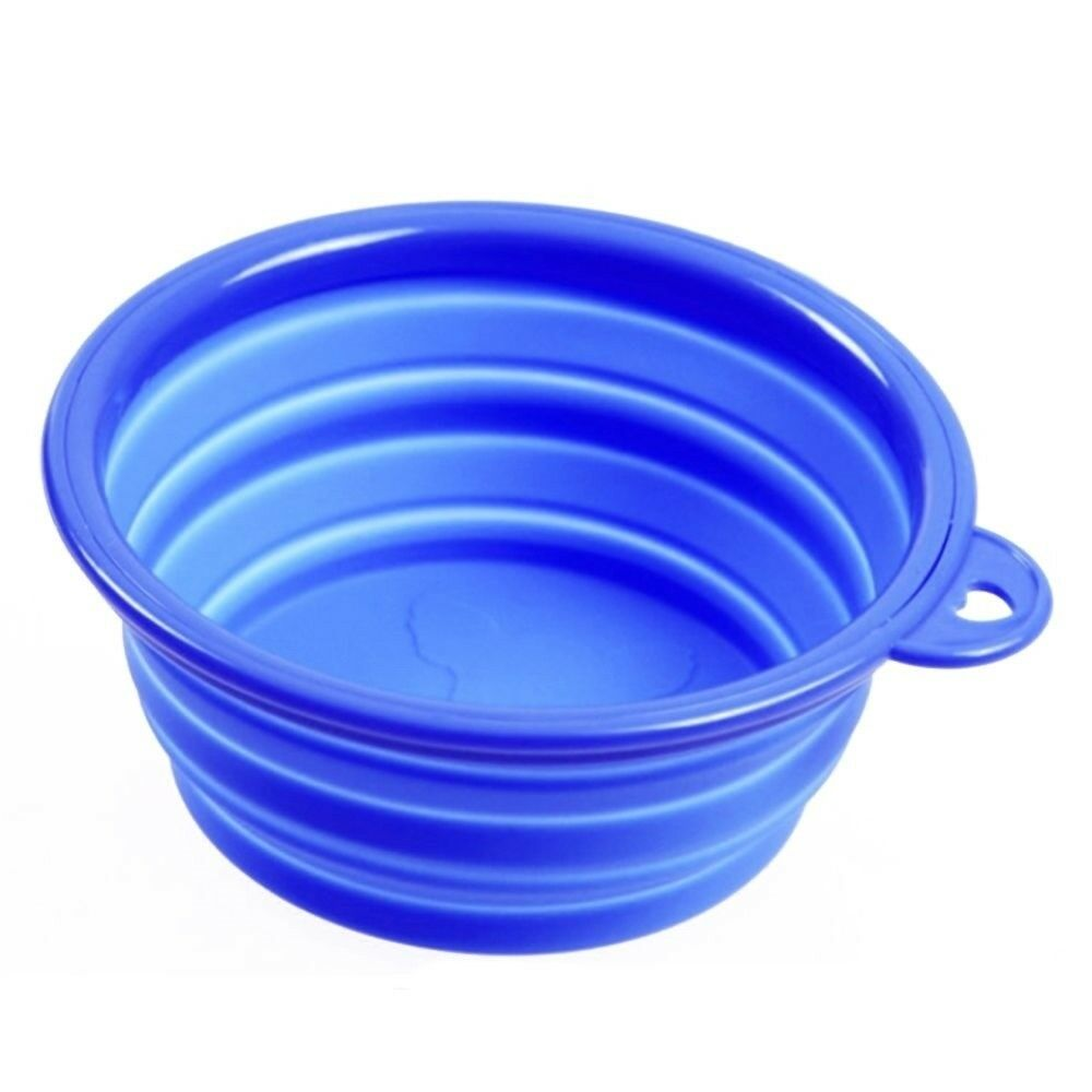 Silicone Pet Food Basin Foldable Portable Cat Dog Pet Bowl   blue