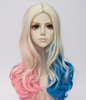 Suicide Squad Harley Quinn 3 Tone Color Wave Curly Cosplay Wig