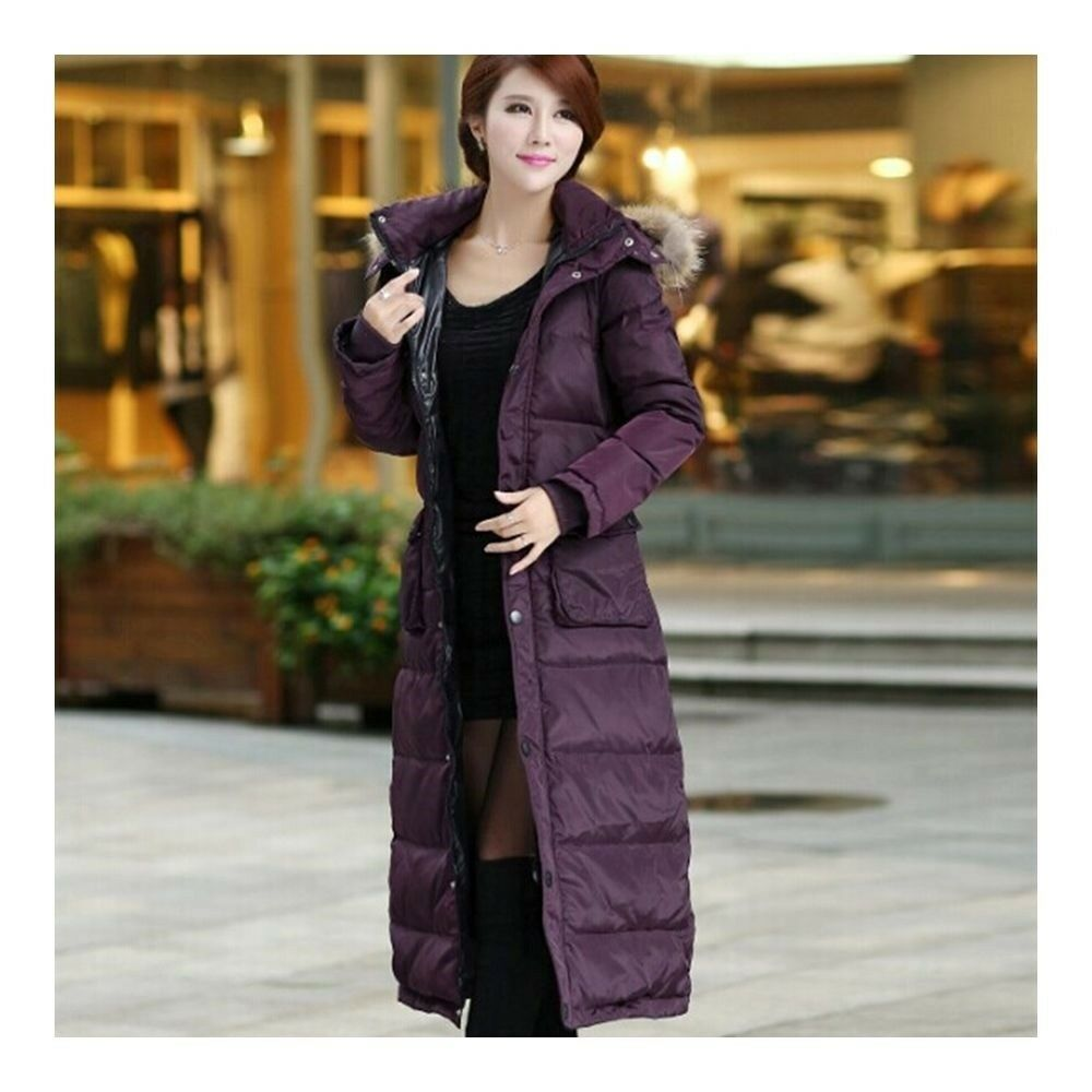 Big Fur Collar Plus Size Extra Long Thick Slim Down Coat   purple
