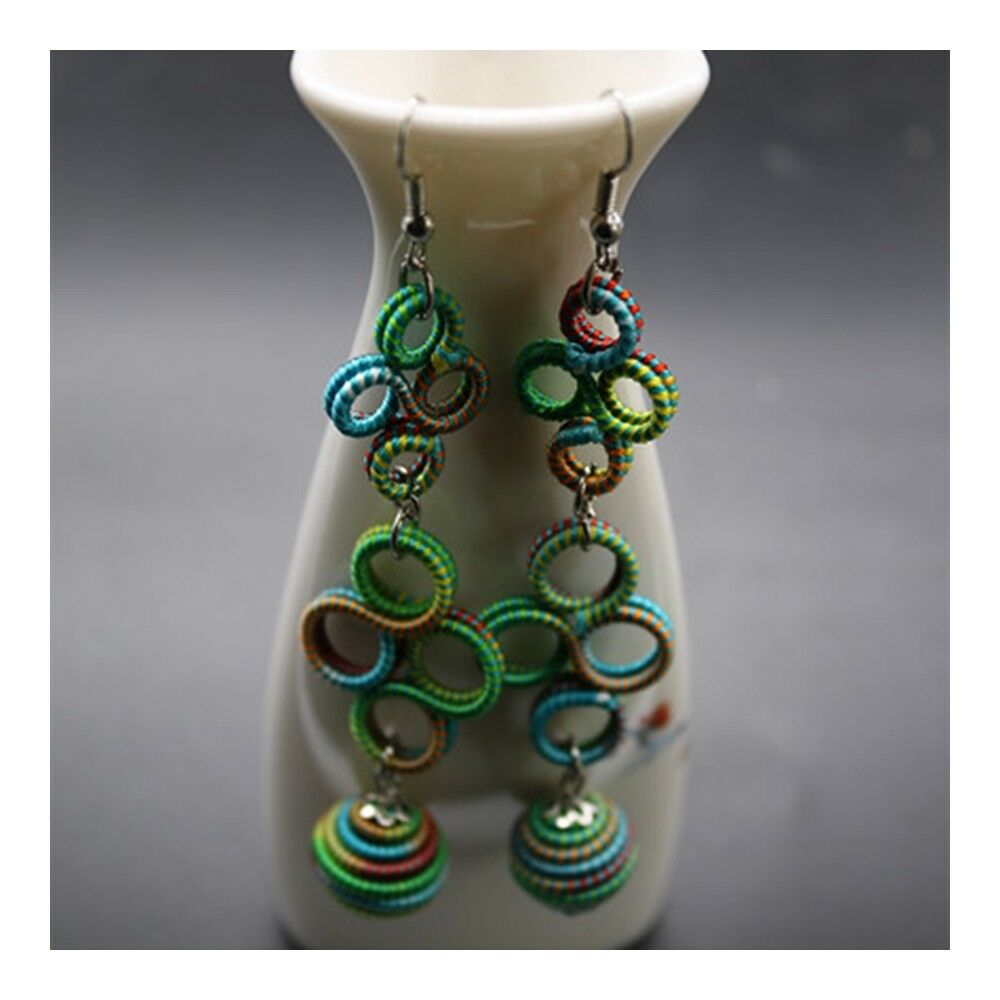 National Style Long Earrings Creative Long Costume Circles   05