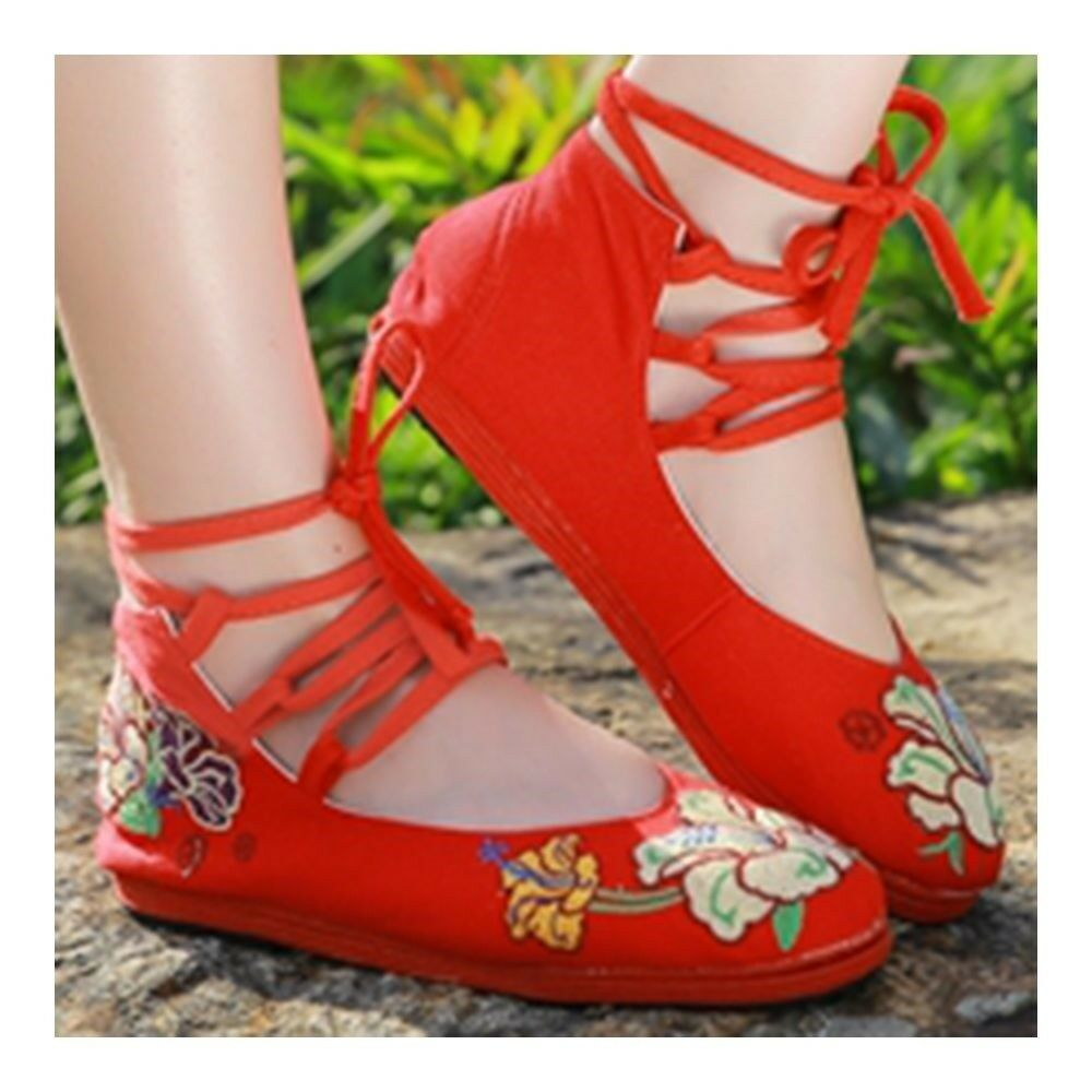 Old Beijing Cloth Embroidered Shoes Low-cut   red