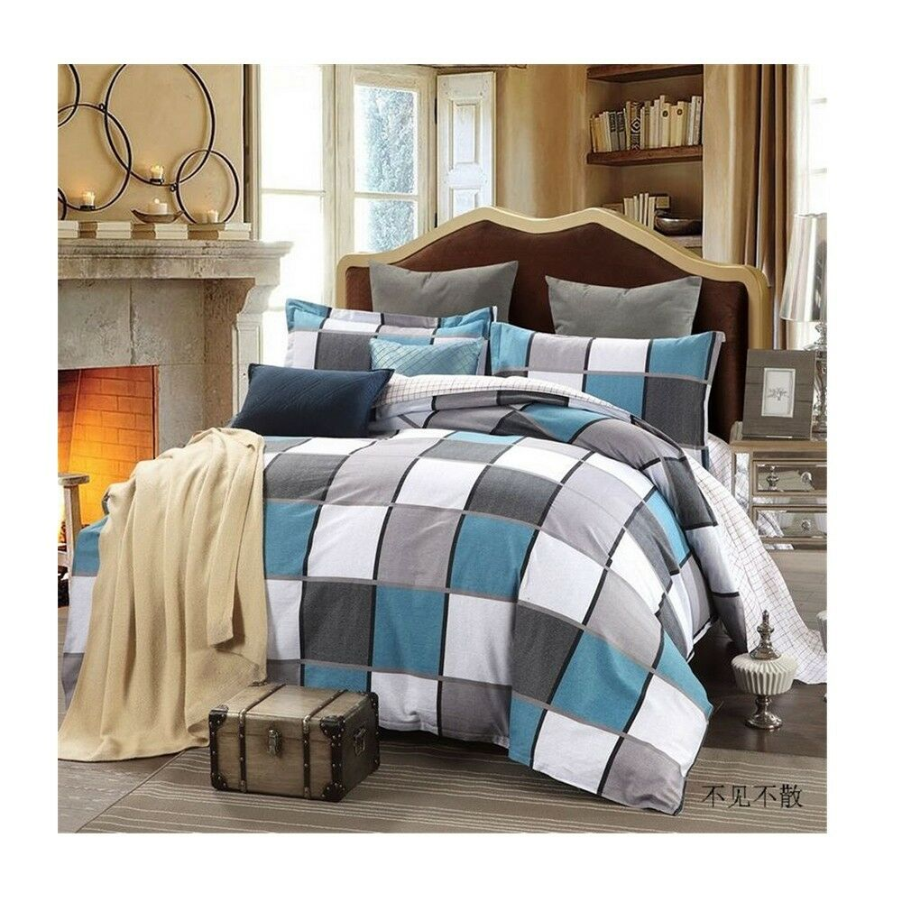 Bed Quilt Duvet Sheet Cover 4PC Set Upscale Cotton 100% 003